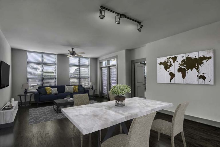 photo of an apartment dining and living room