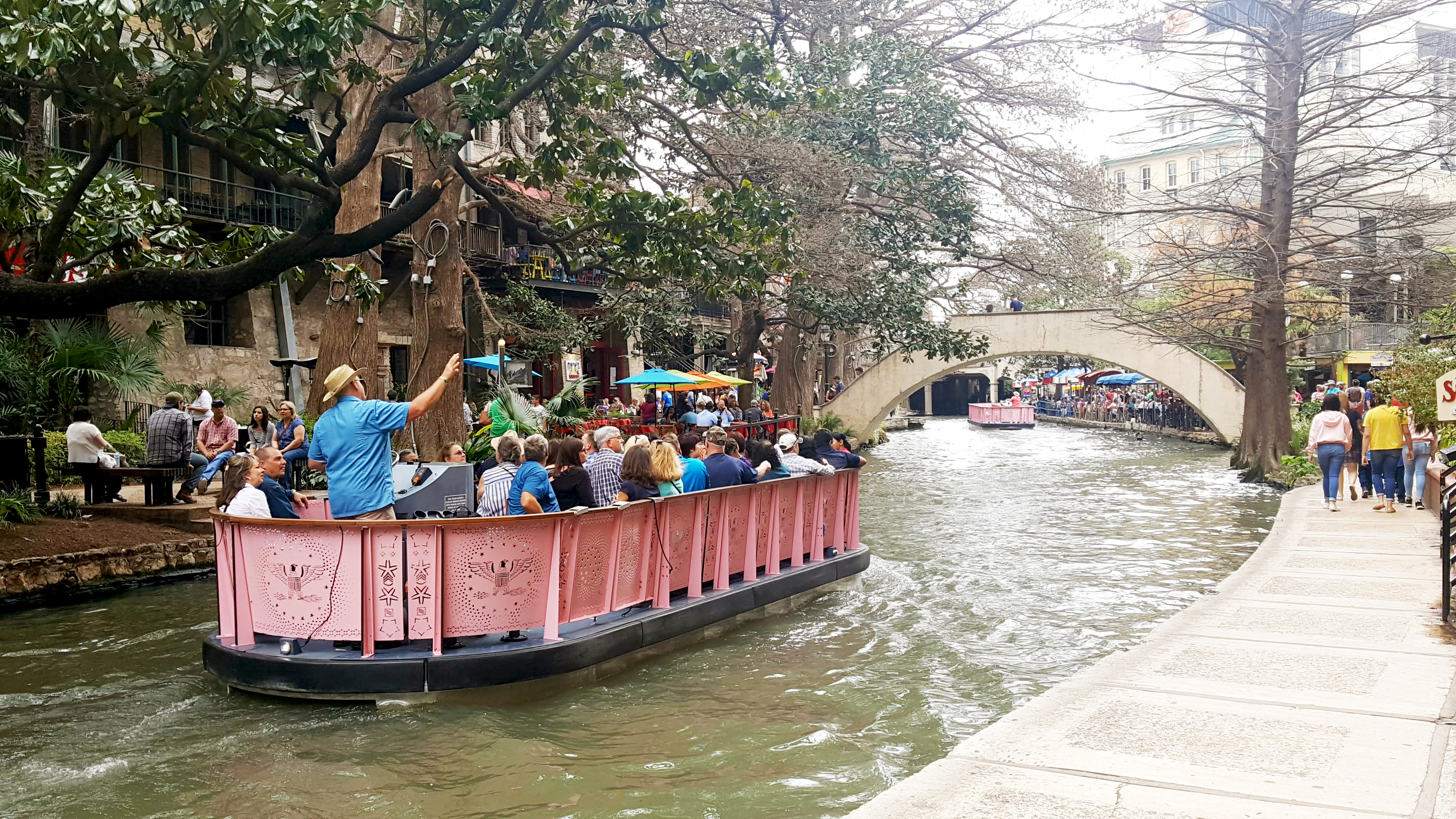 Narrated River Cruise along the River Walk in San Antonio Texas.