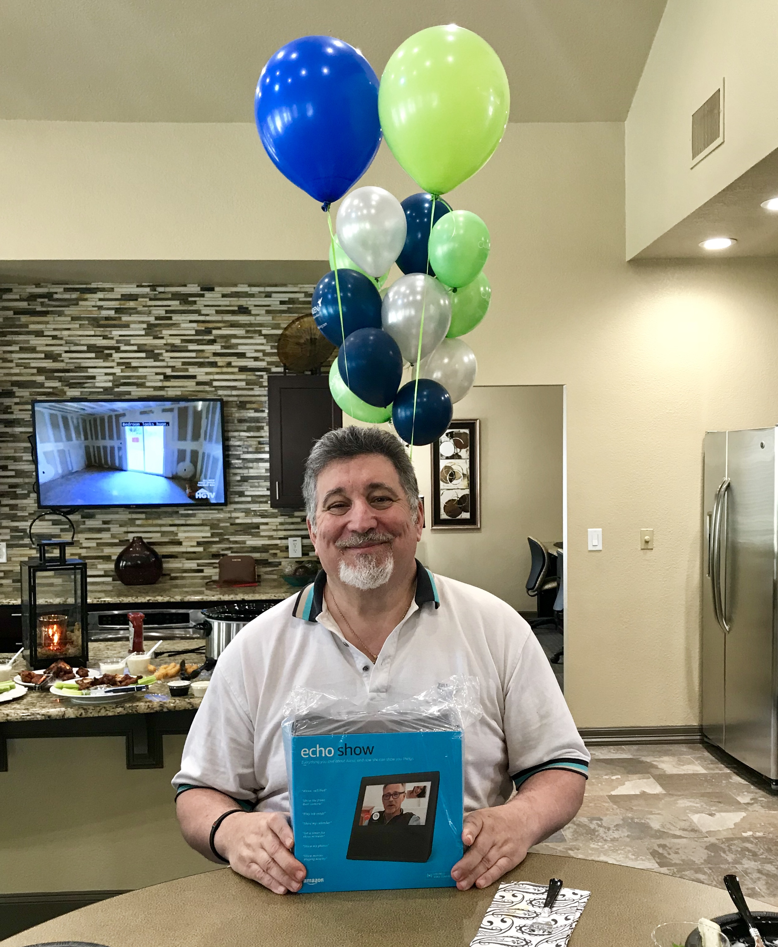 Big Jim opening a Camden Echo Show as a gift from his Camden family for 25 years at Camden Cimarron Apartments in Dallas, TX