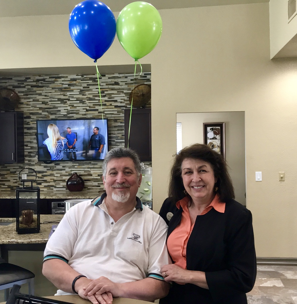 Big Jim and Camden Team Member Rhonda Bryant at Camden Cimarron Apartments in Dallas, TX