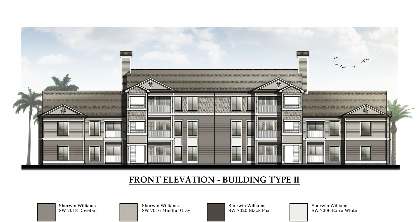 Building Elevation with Color Scheme