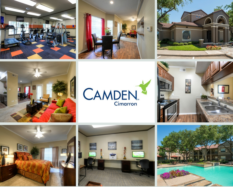 Photo Collage of Interiors, Exteriors and Amenity Spaces at Camden Cimarron Apartments in Dallas, TX