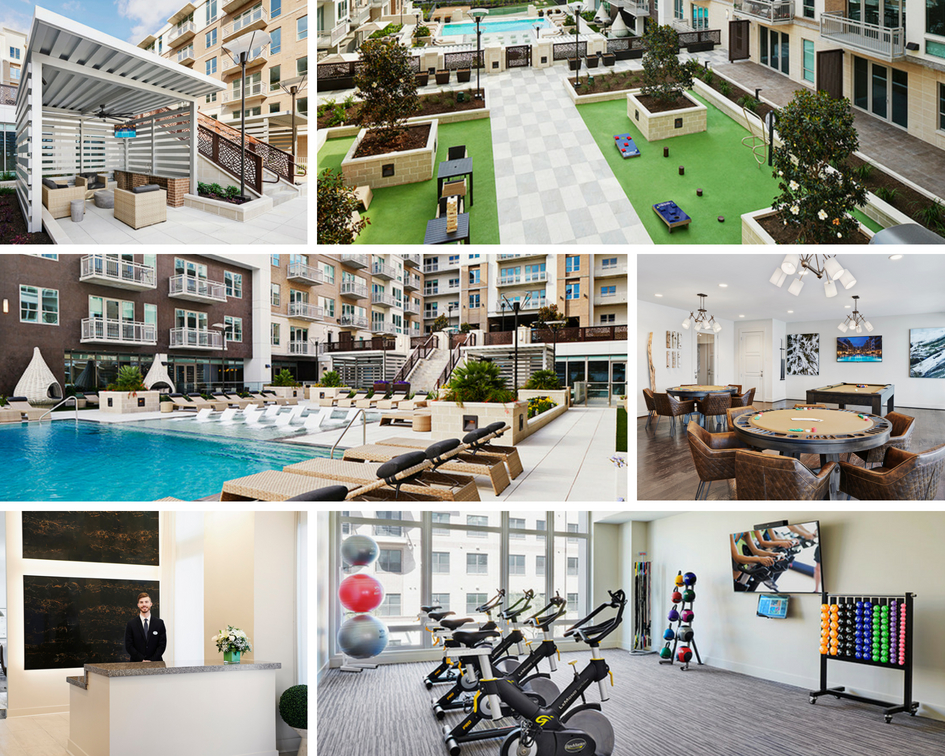 Photo Collage of the Amenities at Camden McGowen Station Apartments in Midtown Houston, TX