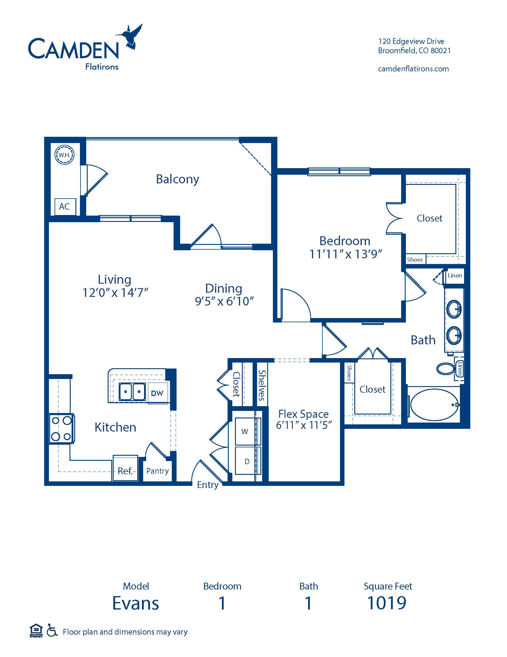 one bedroom apartment floorplan with extra space den or office
