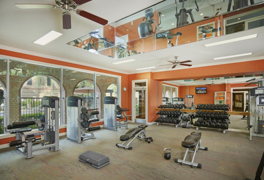 Camden Greenway has a two story fitness center with everything you need to get a great workout in.