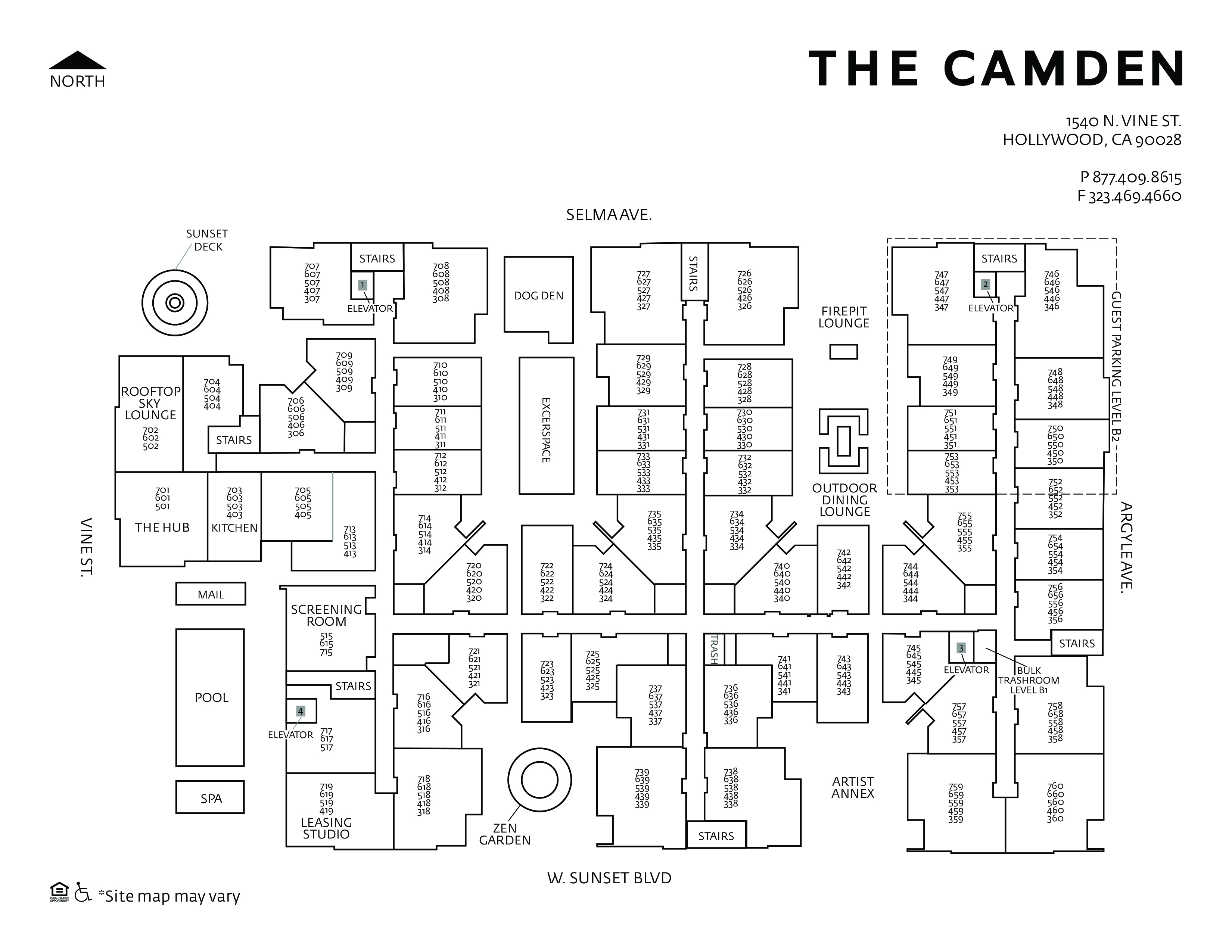 Studio 1 2 Bedroom Apartments In Hollywood Ca The Camden - Cheap-1-bedroom-apartments-plans