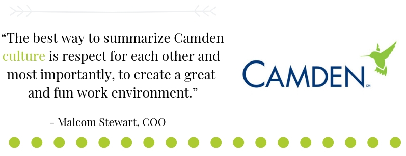 Quote from Malcolm Stewart, Camden COO