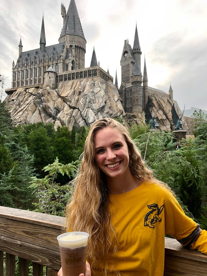 Katie at Harry Potter Universal with Butter Beer