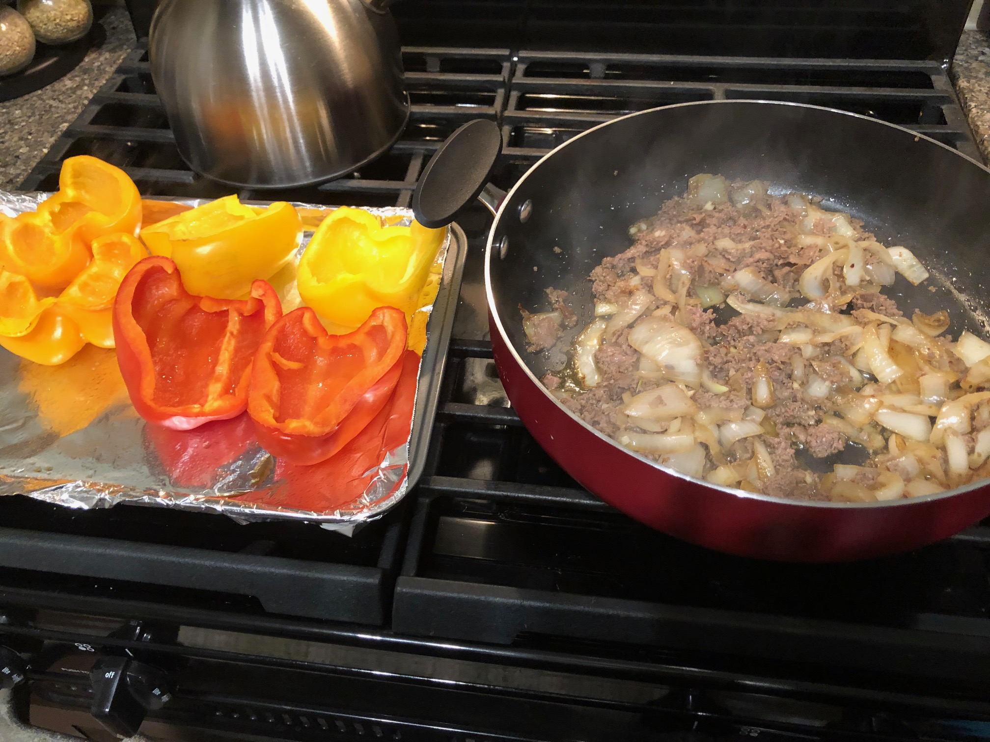 Fill peppers with meat and onions