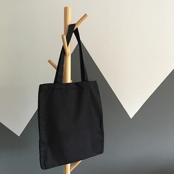 Black, reusable tote bag