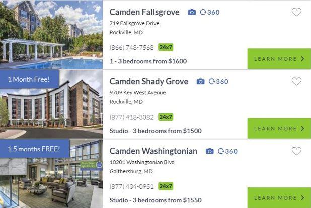 Montgomery County Camden Properties