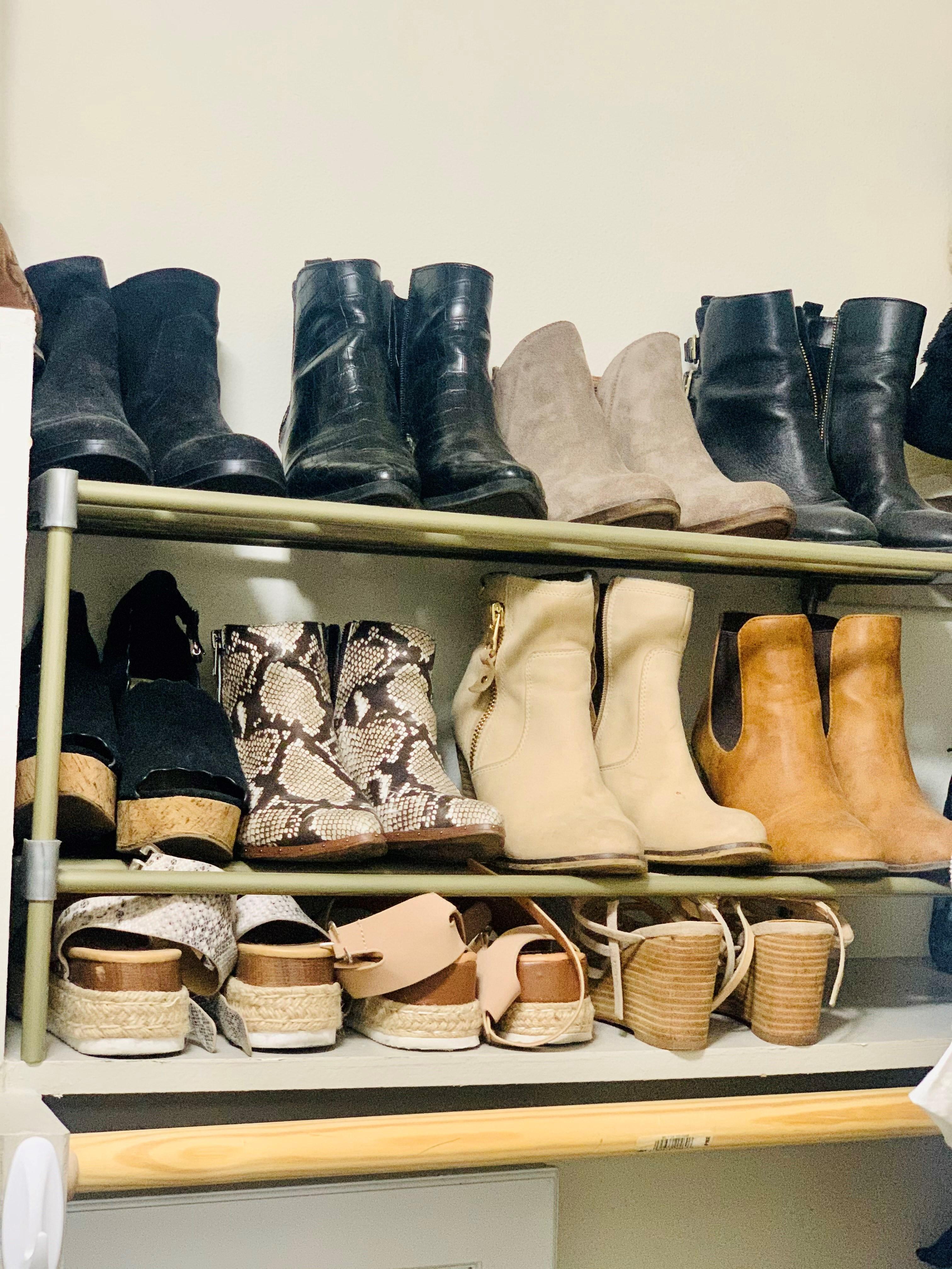Shoe rack on closet shelf