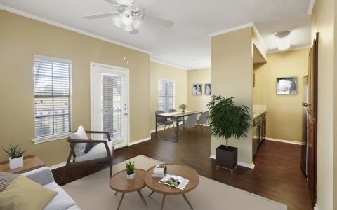 Open Living Room at Camden Cimarron Apartments in Irving, Texas.