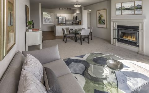 Open Concept Living, Dining and Kitchen at Camden Interlocken Apartments in Broomfield, CO