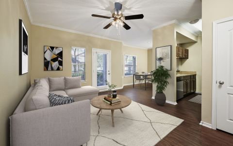 Expansive Living Room at Camden Legacy Creek Apartments in Plano, Texas
