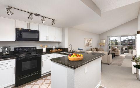 Kitchen with granite countertops at Camden Sea Palms Apartments in Costa Mesa, California