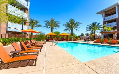 Pool and Hot Tub at Camden Sotelo apartments in Tempe, Arizona