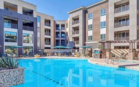 Pool, Spa, and Building Exterior at Camden Tempe apartments in Tempe, Arizona