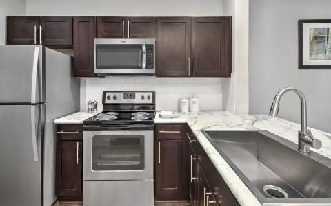 Kitchen with stainless steel appliances at Camden Westwood apartments in Morrisville, NC