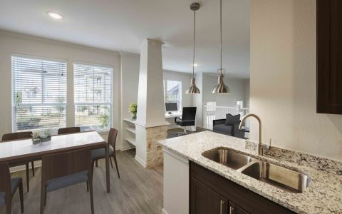 Townhome kitchen and dining area at Camden Cedar Hills apartments in Austin, TX