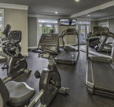 Fitness center at Camden Ballantyne Apartments in Charlotte, NC