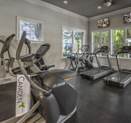 Fitness Center with Cardio Equipment at Camden Fallsgrove Apartments in Rockville, MD