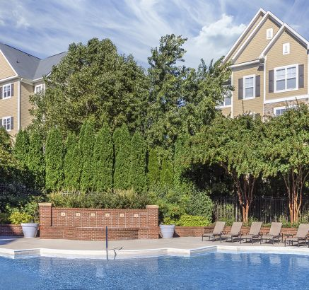 Pool with Fountain at Camden Fallsgrove Apartments in Rockville, MD