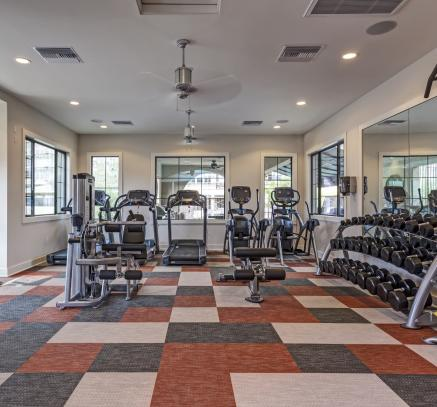 Fitness center at Camden Foothills Apartments located in Scottsdale, AZ