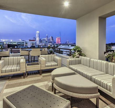 Rooftop terrace at Camden Gallery Apartments in Charlotte, NC
