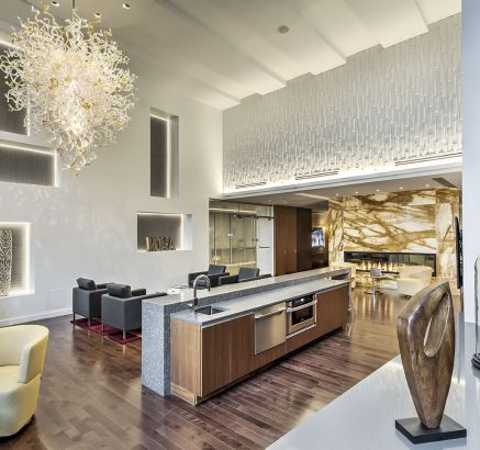 Resident Lounge with Indoor Kitchen at Camden NoMa Apartments in Washington DC