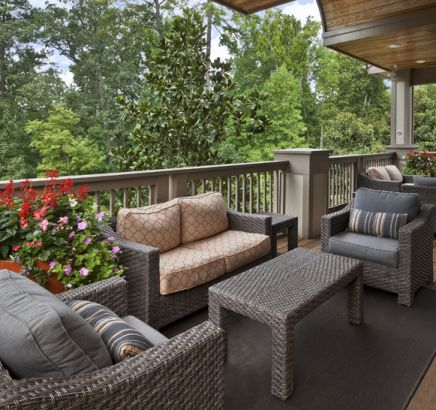 Outdoor seating at Camden Overlook Apartments in Raleigh, NC
