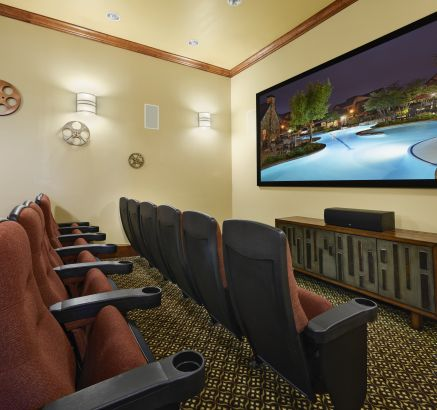 Movie Room at Camden Riverwalk Apartments in Grapevine, TX.