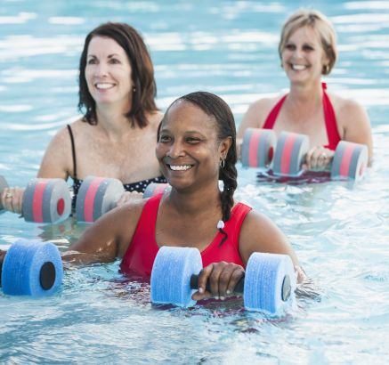 Water aerobics and fitness classes at Camden Royal Oaks Apartments in Houston, TX