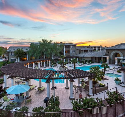 ... Aerial View Of Pool At Night At Camden San Marcos Apartments In  Scottsdale, AZ ...