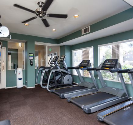 Fitness center at Camden Sea Palms Apartments in Costa Mesa, CA
