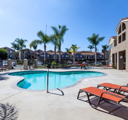 Pool and spa at Camden Sea Palms apartments in Costa Mesa, CA