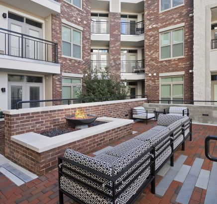 Fireside lounge at Camden Southline Apartments in Charlotte, NC