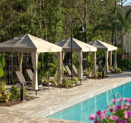 Pool Cabanas at Camden Westchase Park Apartments in Tampa, FL