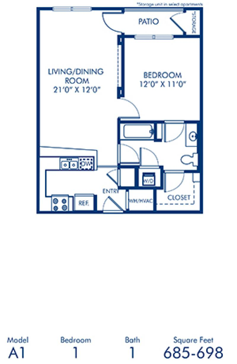 Blueprint of A1.3 Floor Plan, 1 Bedroom and 1 Bathroom at Camden Dilworth Apartments in Charlotte, NC