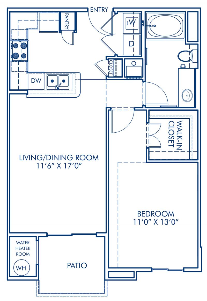 Blueprint of A1 Floor Plan, Studio with 1 Bathroom at Camden Gallery Apartments in Charlotte, NC