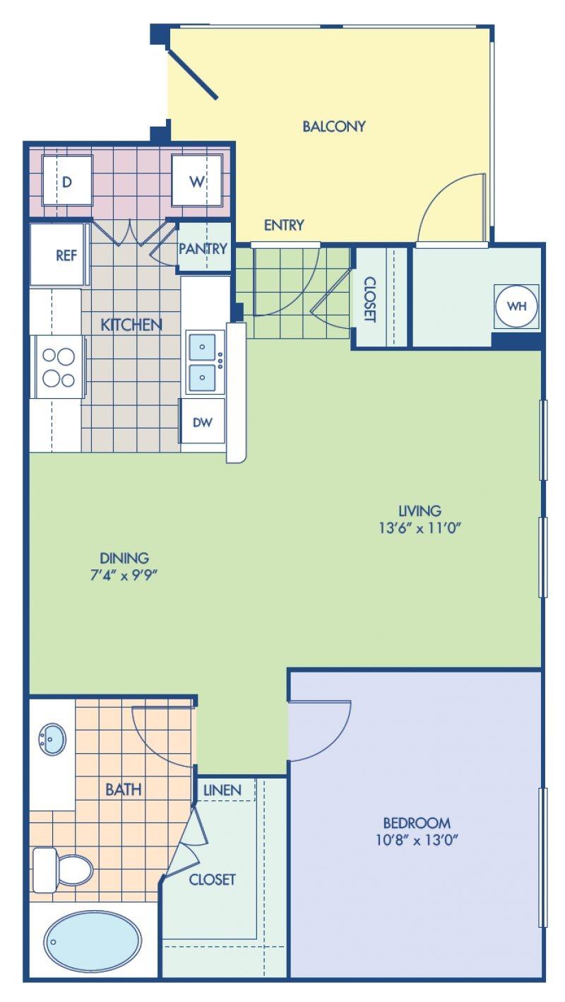Blueprint of A1 Floor Plan, 1 Bedroom and 1 Bathroom at Camden Old Creek Apartments in San Marcos, CA