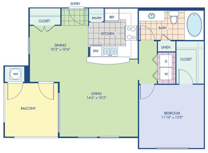 Blueprint of A12 Floor Plan, 1 Bedroom and 1 Bathroom at Camden Victory Park Apartments in Dallas, TX