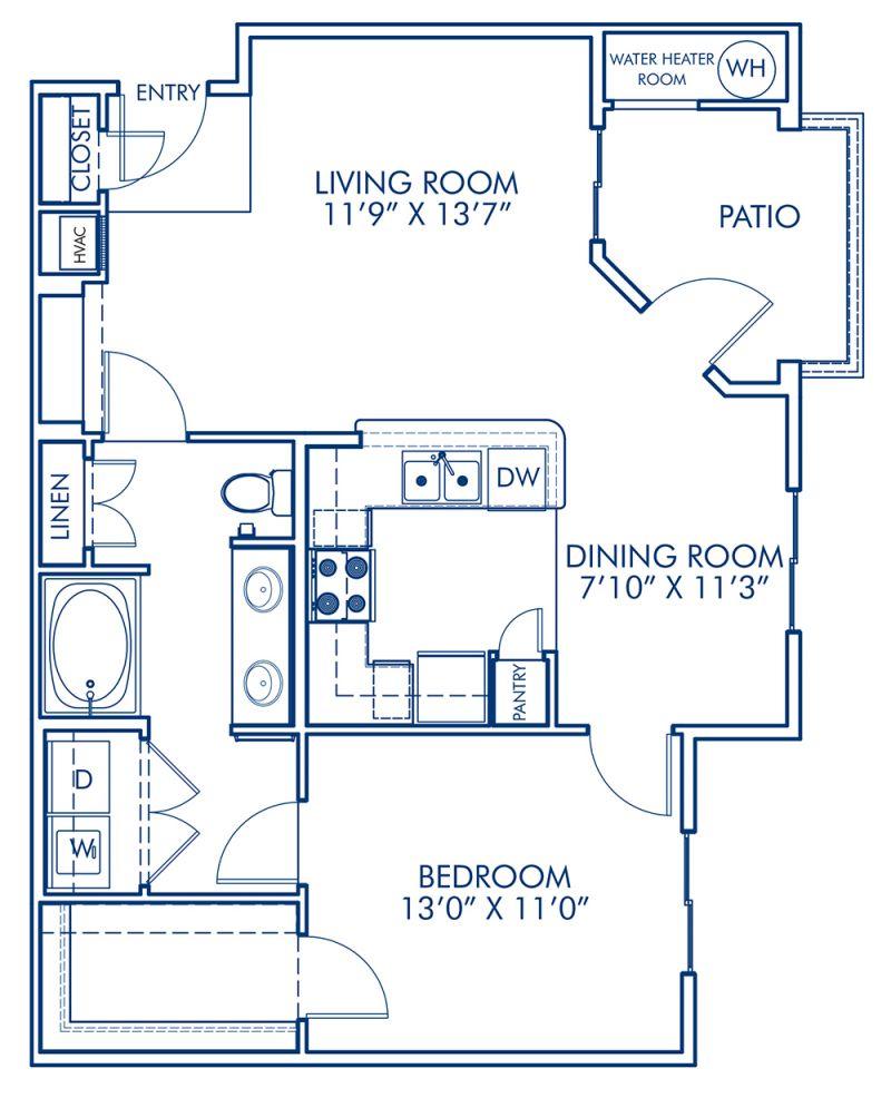 Blueprint of A2 Floor Plan, 1 Bedroom and 1 Bathroom at Camden Old Creek Apartments in San Marcos, CA