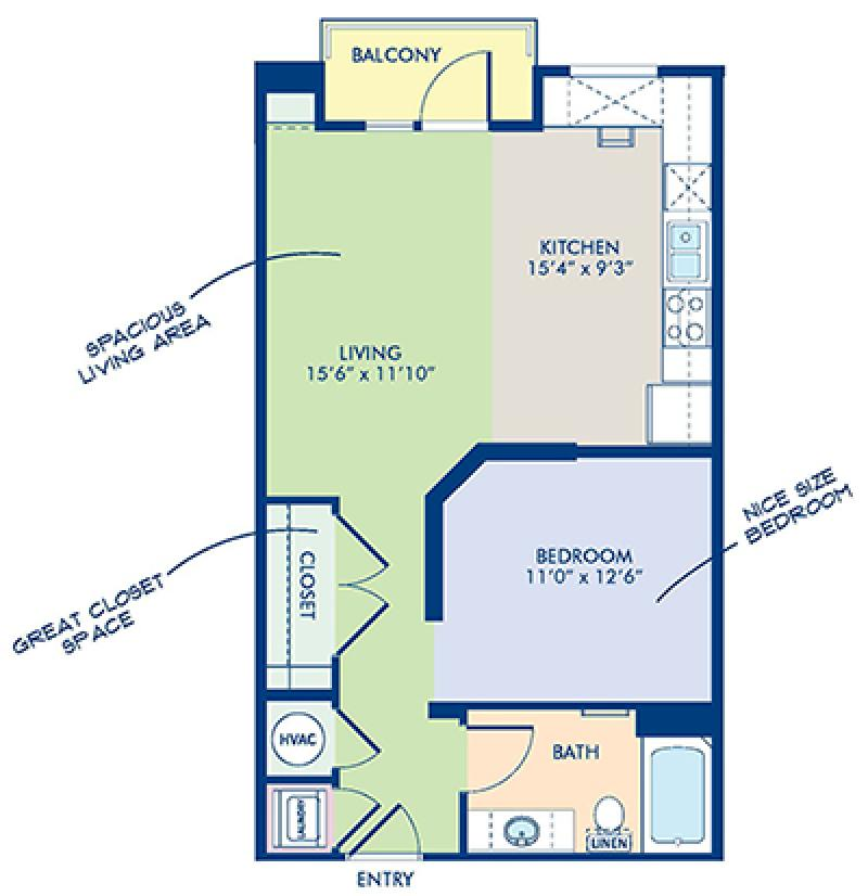 Blueprint of A3-1 Floor Plan, Studio with 1 Bathroom at Camden Southline Apartments in Charlotte, NC