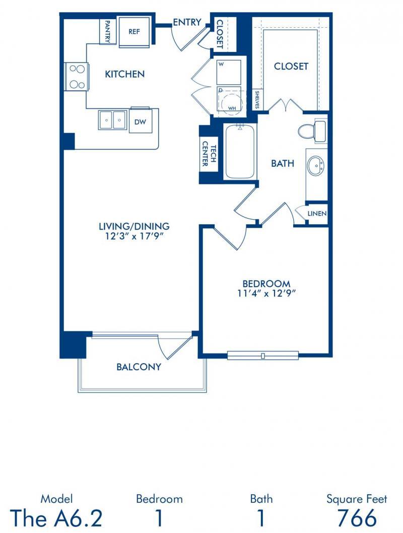 Blueprint of A6.2 Floor Plan, 1 Bedroom and 1 Bathroom at Camden Victory Park Apartments in Dallas, TX