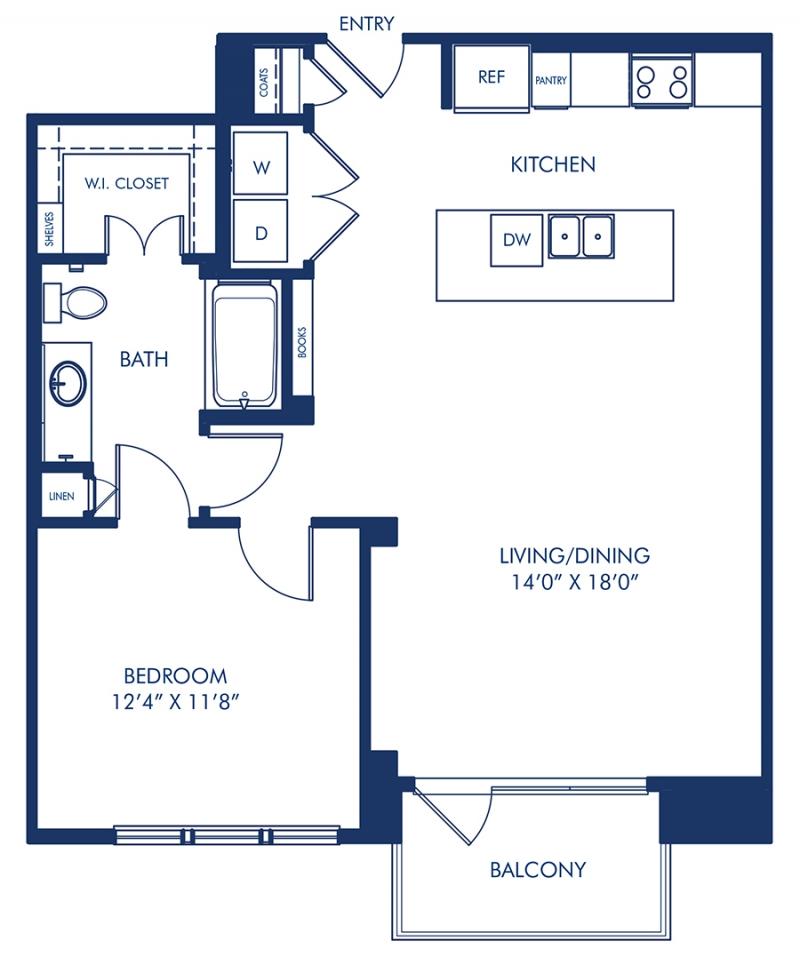 Blueprint of A8.5 Floor Plan, 1 Bedroom and 1 Bathroom at Camden Victory Park Apartments in Dallas, TX
