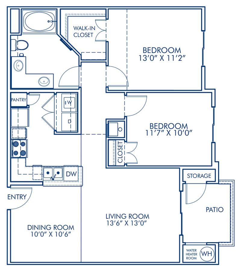 Blueprint of B Floor Plan, 2 Bedrooms and 1 Bathroom at Camden Old Creek Apartments in San Marcos, CA