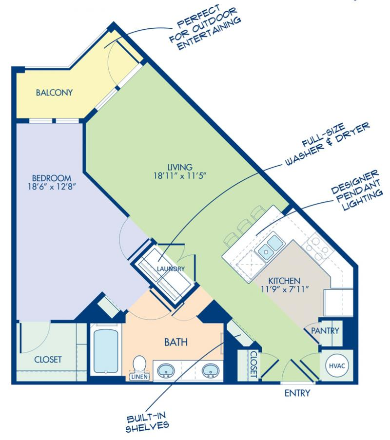 Studio 1 2 bedroom apartments in charlotte nc camden southline blueprint of b2 1 floor plan 1 bedroom and 1 bathroom at camden southline malvernweather Choice Image