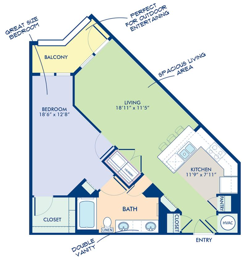 Blueprint of B2-2 Floor Plan, 1 Bedroom and 1 Bathroom at Camden Southline Apartments in Charlotte, NC