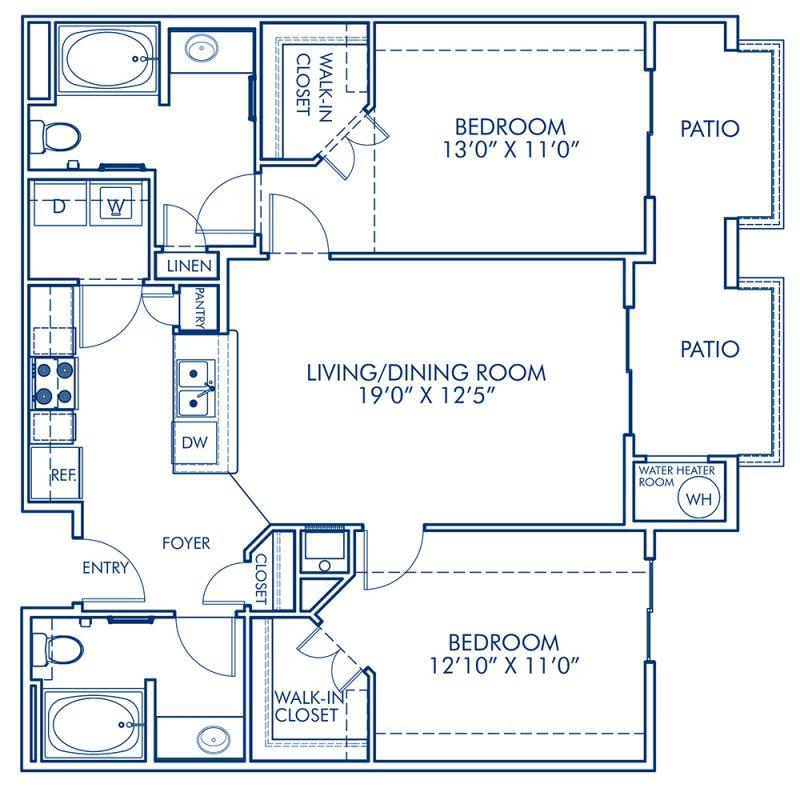 Blueprint of B2 Floor Plan, 2 Bedrooms and 2 Bathrooms at Camden Old Creek Apartments in San Marcos, CA